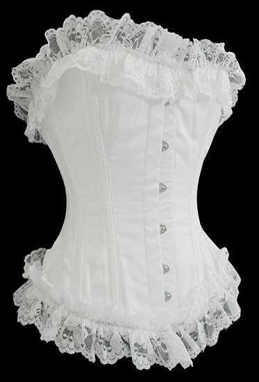 Love this white corset! It's a corset, so it's slimming, it's white, so I will look tanner, it's frilly, so it's girly and cutesy. :)