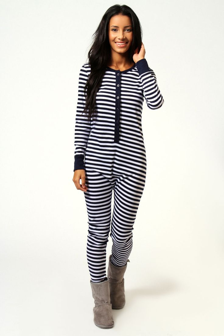 Jayne Ribbed Striped Button Front Onesie at boohoo.com