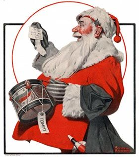 """""""Norman Rockwell's 1921 cover for the magazine The Country Gentleman shows Santa with his modern red and white theme."""""""