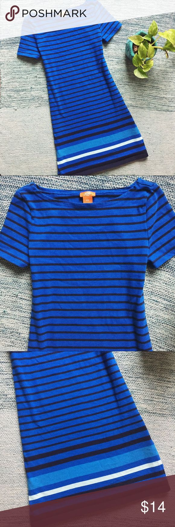 Joe Fresh Striped Knit Shirtdress Gently loved. Some light pilling, but still good condition!   Short sleeve tee shirt dress in a stretchy / heavier knit fabric. Vibrant shades royal blue, sky blue, white, and black stripes throughout.   Brand : Joe Fresh  Size : Small  If you have any questions, feel free to ask. Bundle more items for better discounts. Reasonable offers only please. Happy shopping! Joe Fresh Dresses