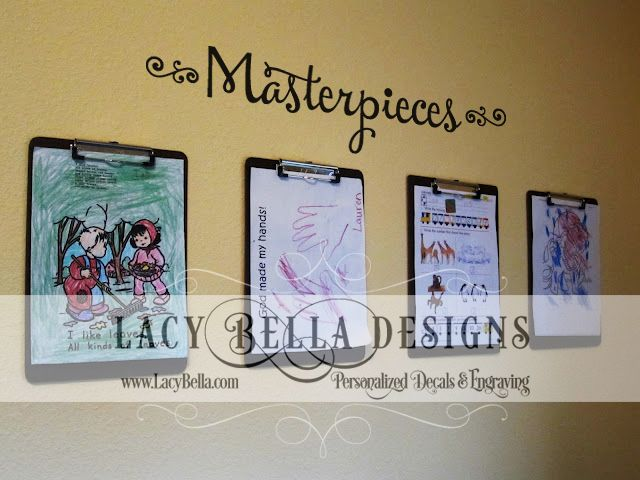 """www.lacybella.com  """"Masterpieces"""" vinyl wall decal for kids hanging artwork display"""