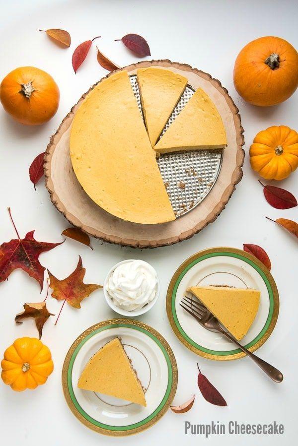 Creamy, easy to make Pumpkin Cheesecake with oat pecan crust (gluten-free) on antique Haviland plates BoulderLocavore.com