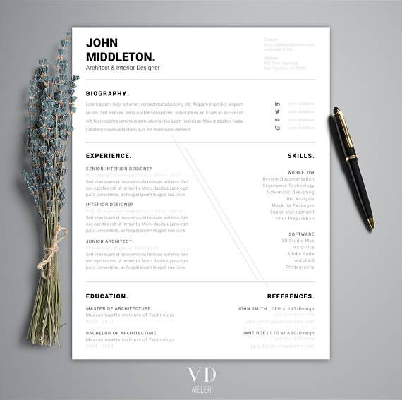 Professional Modern Resume Template for Word  Men Resume