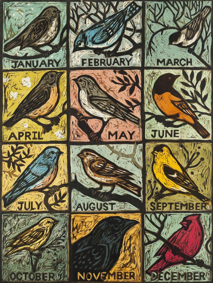 Cute bird calendar print All the Year Round - Woodcut by Kent Ambler