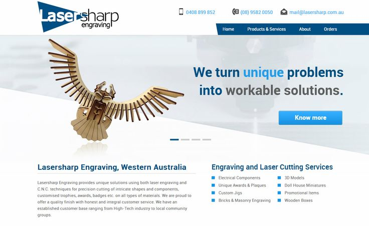 www.lasersharp.com.au - Lasersharp Engraving provides unique solutions using both laser engraving and C.N.C. techniques for precision cutting of intricate shapes and components. Another website developed by Sushidigital.com.au
