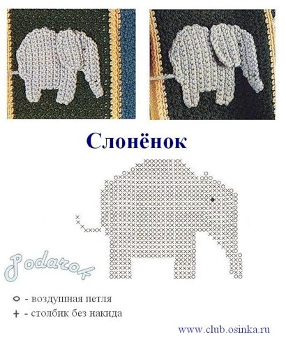 Crochet Elephant Applique Pattern