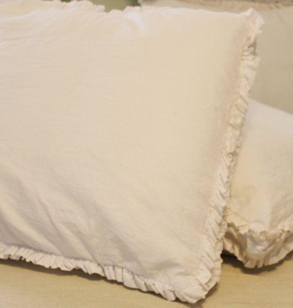 Cotton Double Ruffle Euro Sham with gusset 25 by ThreadneedleLane