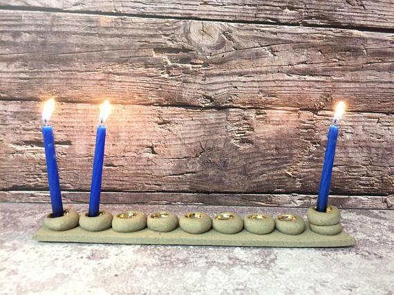 Gray & Gold Hanukah Menorah, Family Hanukia, Ceramic menorah, Unique Housewarming Gift, Hanukkah decoration, holidays Jewish gift, Judaica Holiday Decor.  I'm thrilled to offer my handmade ceramic menorahs in my shop. They are a unique and will make a special gift for anyone who loves
