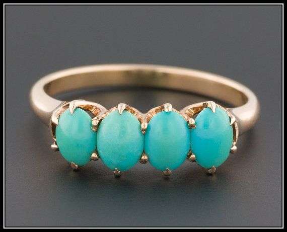 Antique Victorian Turquoise Ring, 14k Gold Ring