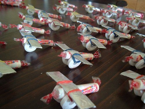 Candy Airplane Craft...these were used in a travel themed wedding as one of the favors.  They turned out really cute! #aeroplaneparty