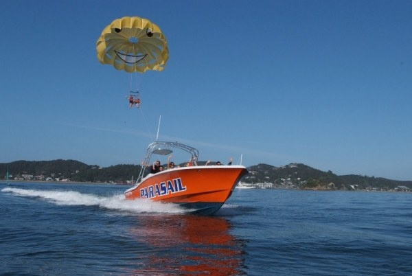Photo by Flying Kiwi Parasail - scary but fun .. NZ's highest