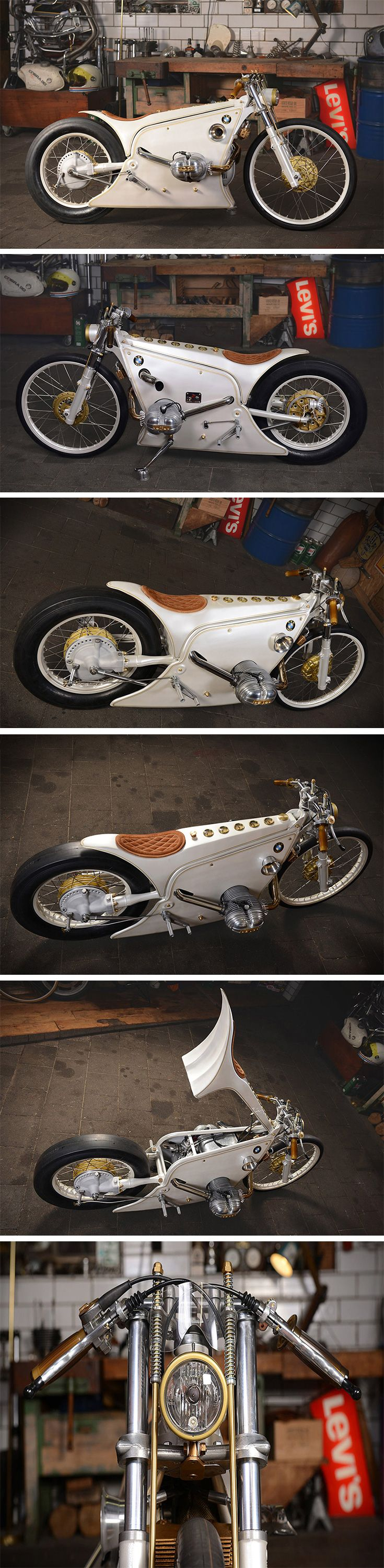 This custom BMW build by Kingston Custom is like Elvis' white, bedazzled jumpsuit morphed into a motorcycle! It's called the White Phantom and it's actually all 80s on the inside! The donor bike was a 1980s BMW tourer. After some chopping, however, it's a much slimmer version of its original self, save for a protruding turbocharger from that 798cc engine.