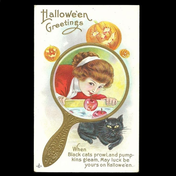 Halloween Postcard Girl Bobbing For Apples, Pumpkins, Black Cat at Tannery Creek Antiques.