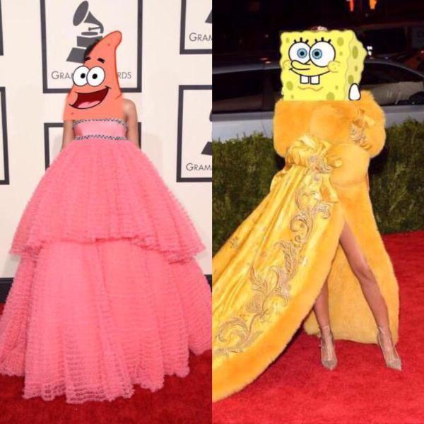 2014 Met Gala vs 2015 Met Gala for Rihanna meme. Ha Ha Ha!