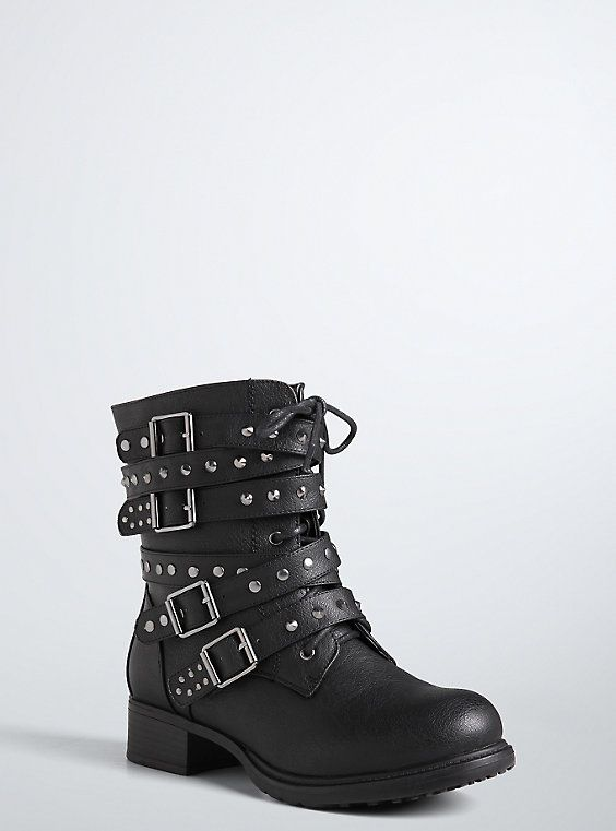 Strappy Studded Combat Boots (Wide Width), BLACK