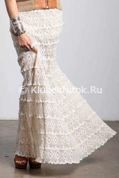 Длинная юбка ромбами | Вязание для женщин | Вязание спицами и крючком. Схемы вязания.