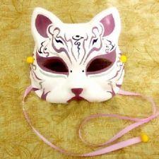 Half Face Hand-Painted Japanese Fox Mask Kitsune Cosplay Masquerade Halloween