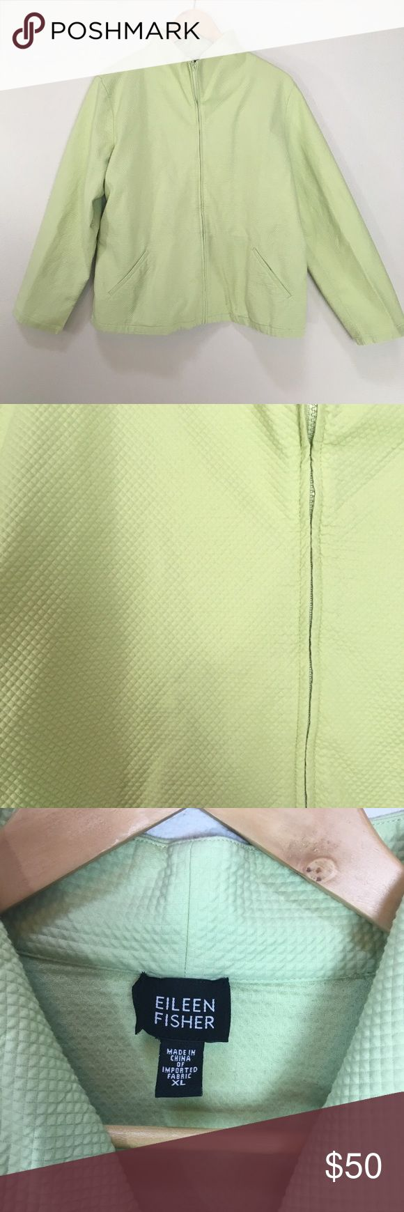 "EILEEN FISHER Quilted Light Green Zip Up Jacket XL EILEEN FISHER Quilted Light Green Zip Up Jacket Cotton Blend Women's Size XL. Excellent condition! Light weight jacket. Green is like a pistachio green. Clean and comes from smoke free home. Questions welcomed. Approx. measurements: Armpit to armpit: 22.75"" across Length: 24.75"" Eileen Fisher Jackets & Coats"