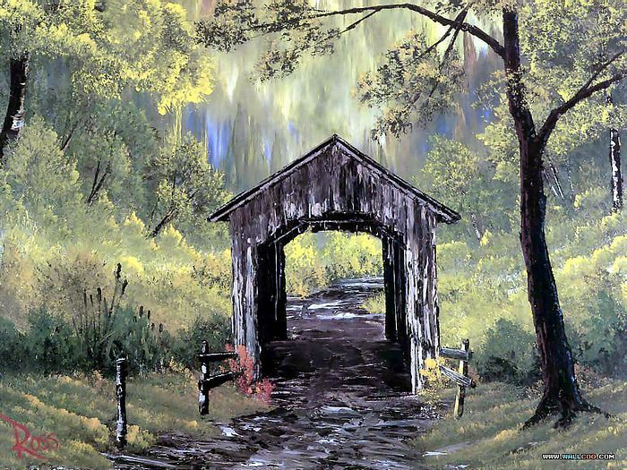 Peaceful Landscape Paintings by Bob Ross  - Bob Ross oil paintings : Covered Bridge  10