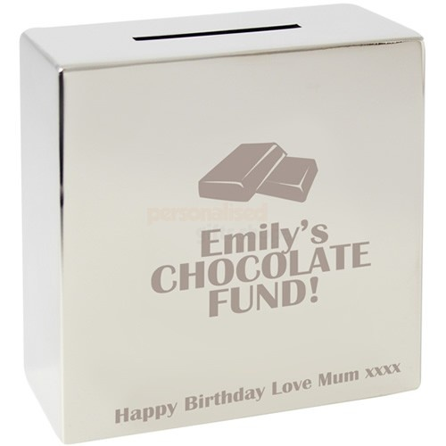 Personalised Chocolate Silver Money Box  from Personalised Gifts Shop - ONLY £19.95