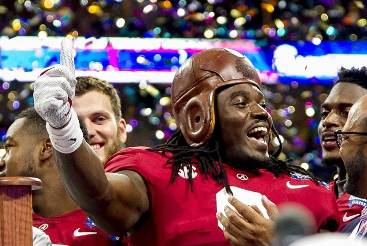 Alabama running back Bo Scarbrough (9) gets the old leather helmet award after the Alabama vs. Florida State football game, Sunday, Sept. 3, 2017, at Mercedes-Benz Stadium in Atlanta. Alabama won 24-7. Vasha Hunt/vhunt@al.com
