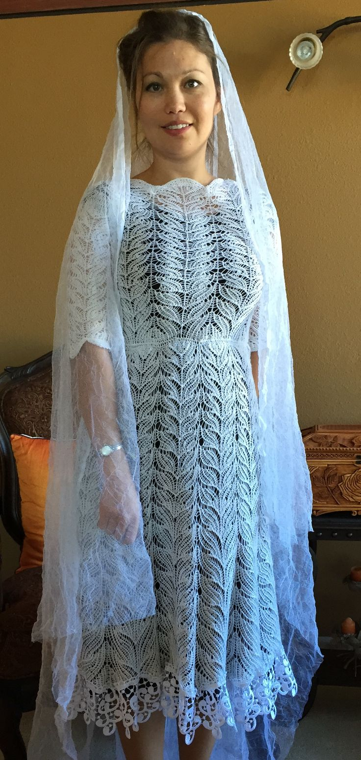 50%wool/ 50% silk hand knitted lace dress, undyed