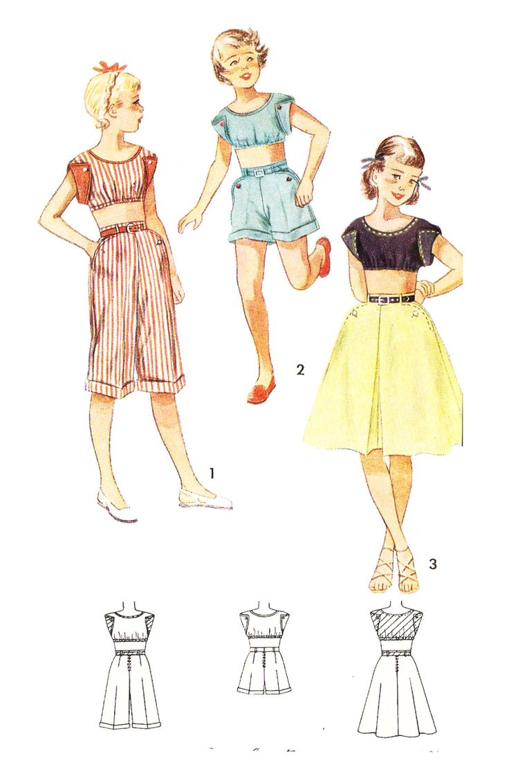 Simplicity 3293 Girl's Vintage 1950s Midriff Top, Pedal Pushers, Shorts and Skirt Sewing Pattern by DRCRosePatterns on Etsy
