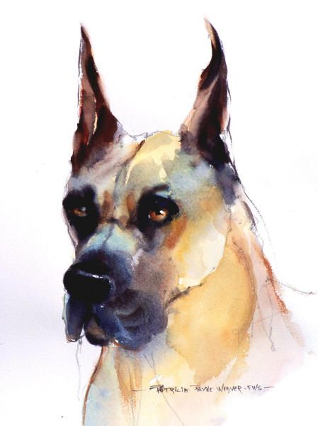 Great Dane - Watercolor Dog Portrait