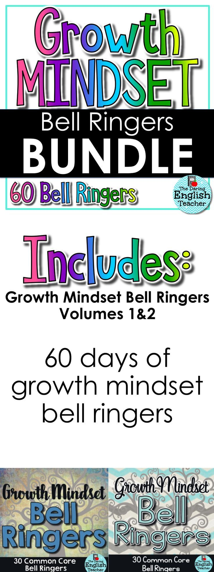 Establish critical thinking and a growth mindset in your classroom within the first five minutes with growth mindset bell ringers.