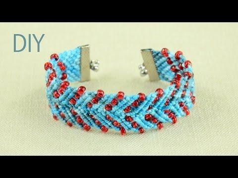 Chevron Design Bracelet with Beads - Tutorial - YouTube
