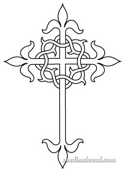 """Free hand embroidery pattern:  Cross and crown of thorns, adapted from Thomas Brown & Son's catalogue of church embroidery designs from the early 1900′s, where it appears as a """"square"""" cross (or a cross with equal length arms on all four sides).  Design adapted by Mary Corbett of Needle 'n Thread."""