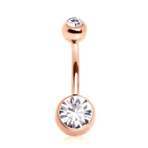 Piercing nombril or rose serti de deux pierres de Zircon