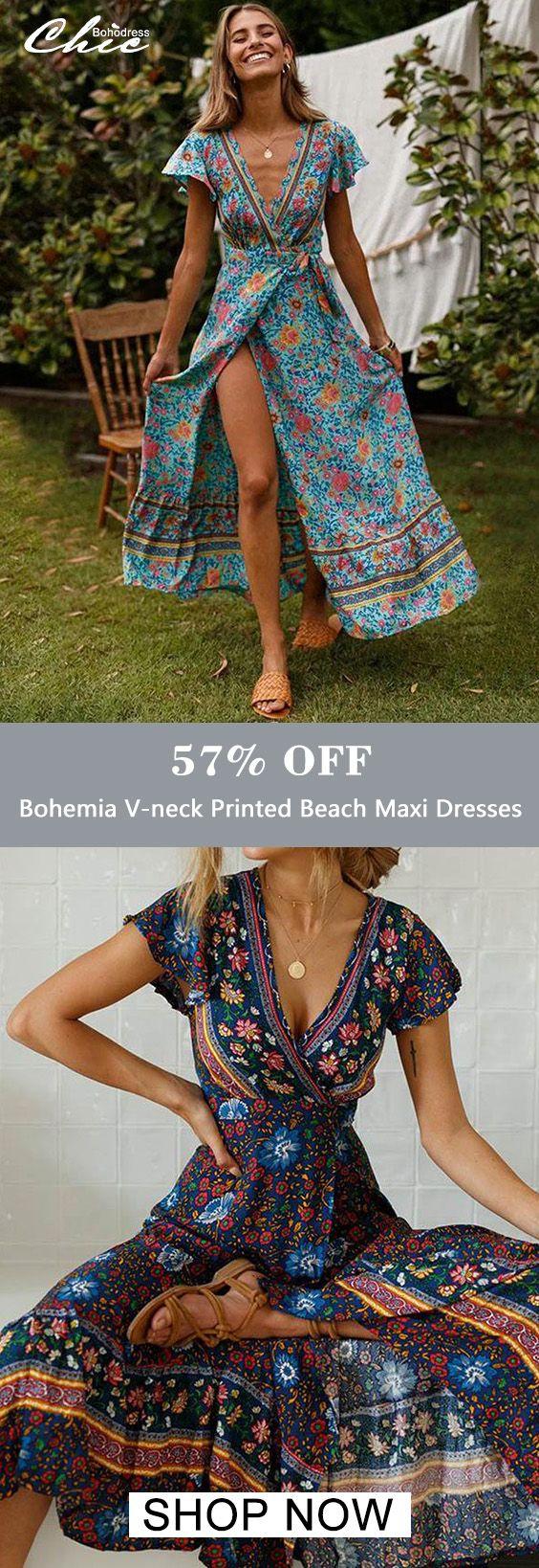 Bohemia V-neck Printed Beach Maxi Dresses 3