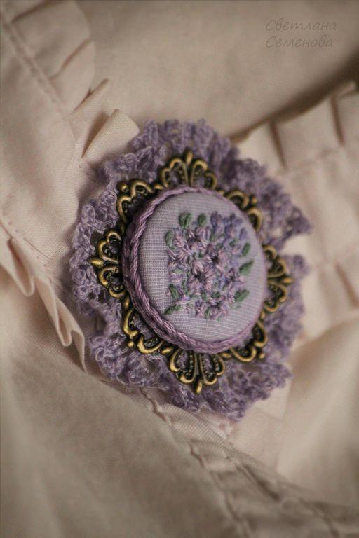 Брошь Дивная Сирень - кружевной,винтаж,винтажный,старинный,винтажное украшение