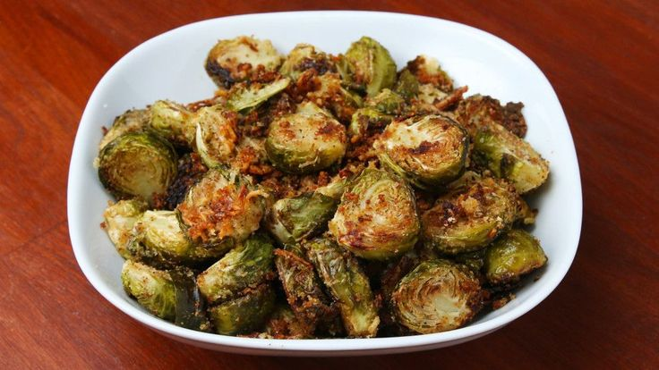 You Know You Want To Make These Garlic Roasted Brussel Sprouts--- Use Pork Rinds instead of flour.