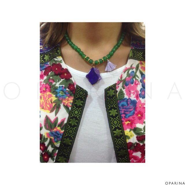 Collar en Agata de Mano Hamsa y Borla. #oparina #hamsahand #fatimahand #naturalstone #gemstone #agatha #jewelrydesign #jewelry  #madewithstudio