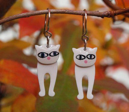 White Cat Earrings Handpainted Stainless Steel Sweet Little Pink Nose, Cat Lover Gift by #CinkyLinky