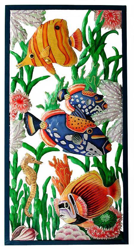 Peces tropicales pared colgante mano pintado por TropicAccents                                                                                                                                                                                 Más