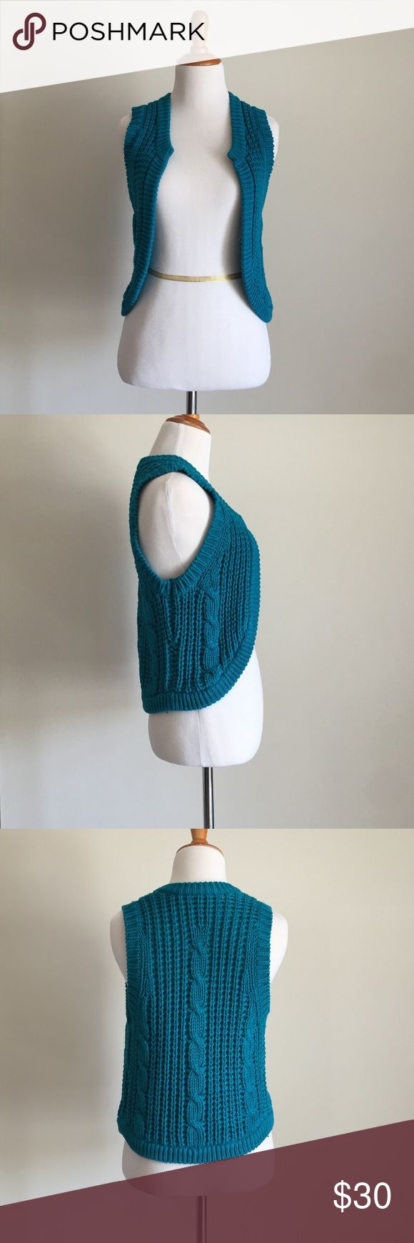French Connection Teal Knit Vest Cozy up this fall in style with this teal knit vest from French Connection. 🍁 Comes from a loving, smoke-free home and only worn once. No rips, holes, or stains. French Connection Jackets & Coats Vests