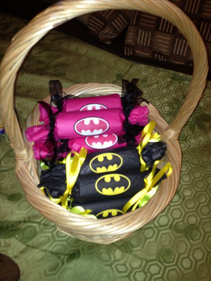 Batman candy favors: Tissue roll full of candy. http://batmanparty4jacob.blogspot.com/