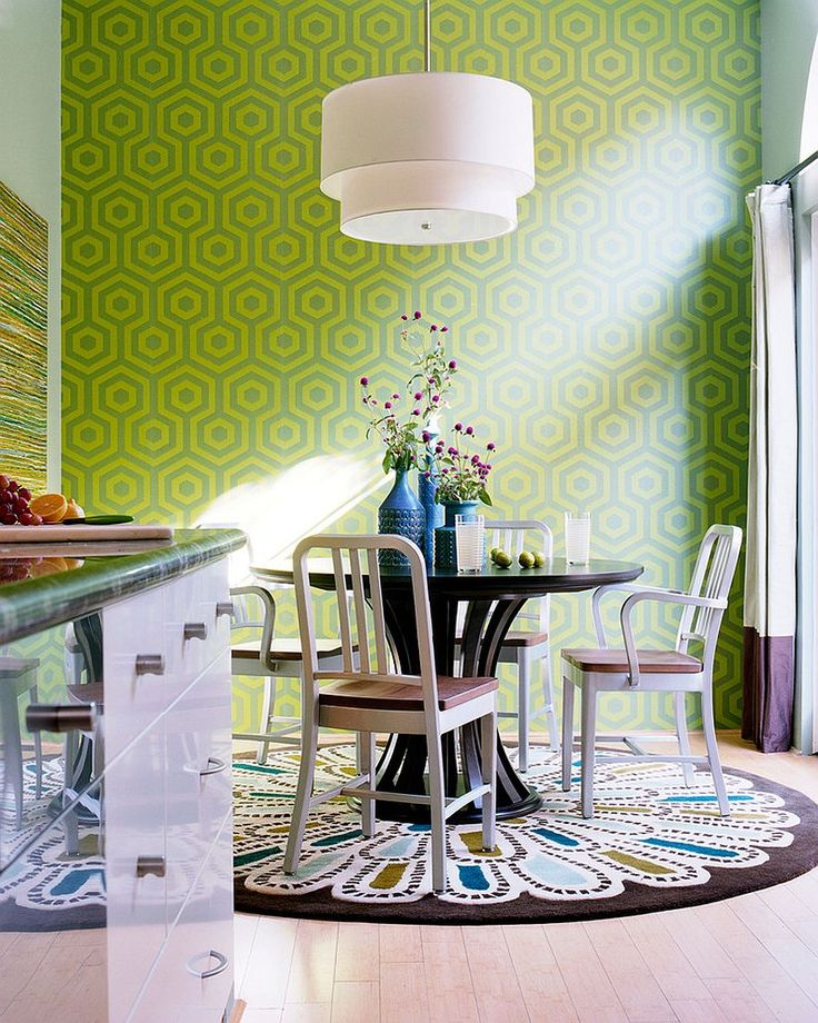 Dining Room Cylinder Blue Glass Flower Vase With Dining Room Rugs Need To Be Plain Also Round White Glass Pendant Lamp And Round Black Varnished Wood Table Besides Green Wallpaper Wall Design   Choose the Right Rug for Dining Room