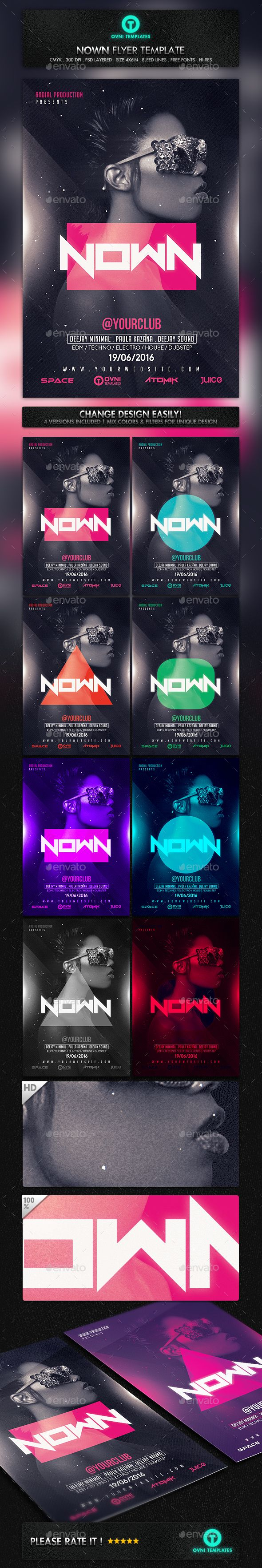 Electro Futuristic Neon Girl Flyer Template PSD #design Download: http://graphicriver.net/item/electro-futuristic-neon-girl-flyer-template/14506072?ref=ksioks