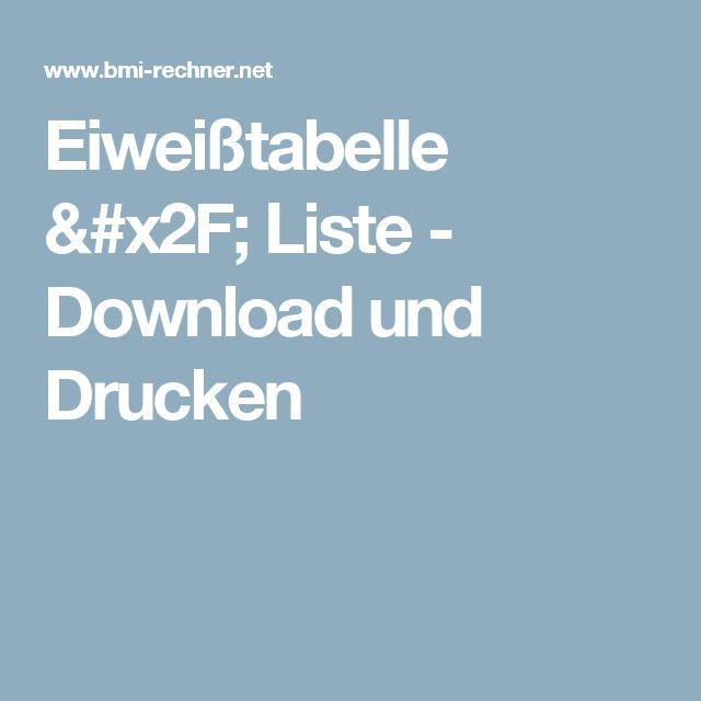 Eiweißtabelle / Liste - Download und Drucken