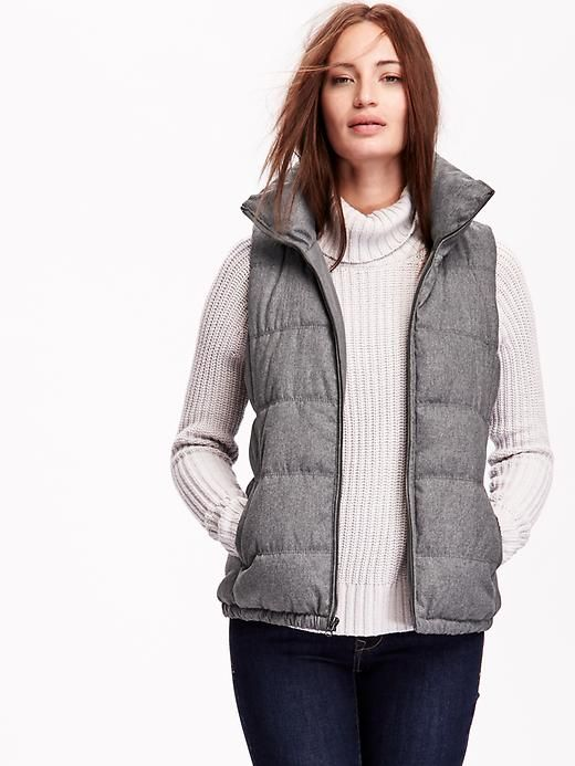 Frost Free Fleece-Lined Vest in Heather Grey Herringbone