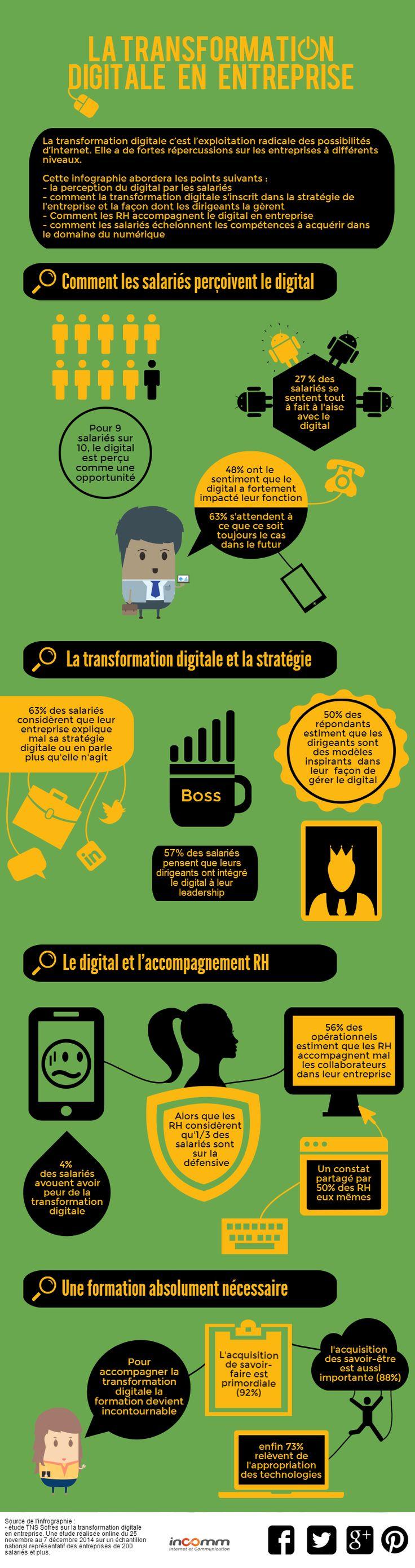 Une étude de TNS Sofres sur la transformation #digitale dans les grandes entreprises imagée par une #infographie.