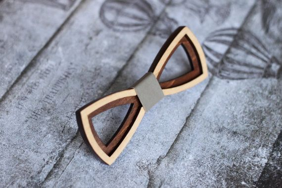 3D Wooden Bow Tie for man with gray leather. Best от BuffBowTie
