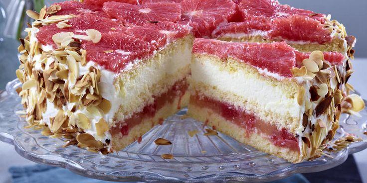 Recipe for Layered pink grapefruit cake with white chocolate cream
