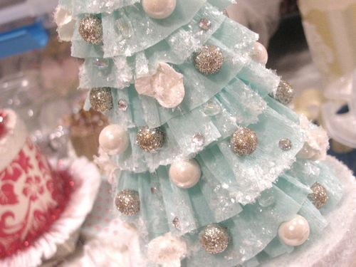Crepe paper Christmas trees