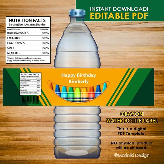 Crayon Water Bottle Labels Art Party Water Bottle Lables