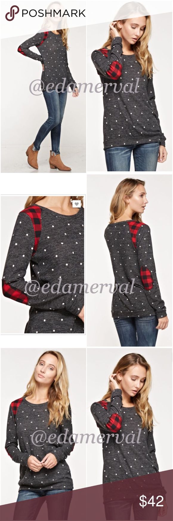 LISTING! NWT Charcoal Plaid Elbow Patch Top NWT Charcoal Polka Dot Plaid Elbow Patch Top. Cute buffalo plaid shoulder and elbow detailing! Charcoal knit base with white polka dots. French terry style knit, sleeves are fitted. Fabric is polyester/spandex blend. Fits true to size (if between sizes, size up), available in Small (0-4), Medium (6-8), Large (10-12). PRICE IS FIRM, but can discount in a bundle. Tops Tees - Long Sleeve